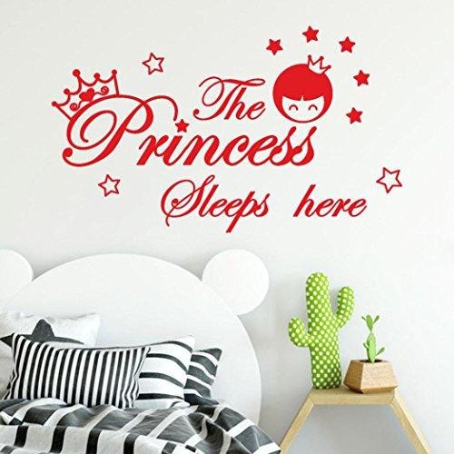 erthome Wandaufkleber, Wandtattoo 3D DIY Wand Aufkleber The Princess Sleeps Here Wall Sticker Kinderzimmer Familienzimmer Dekor (Rot) -