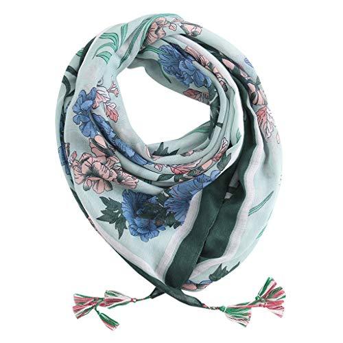 (VRTUR Seiden-Tuch Damen Print Made in Italy - Eleganter Sommer-Schal für Frauen - Hochwertiges Seidentuch/Seidenschal - Halstuch und Chiffon-Stola(Einheitsgröße,X-Grün))