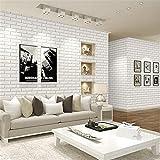 STEAM PANDA 3D Dreidimensionale Ziegelstein-Hintergrund-Tapete Weiße Tapete Fernsehhintergrund-Muster-Tapeten-starke starke einfache wasserdichte, white