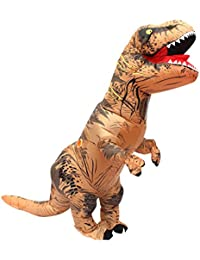 Halloween adulto inflable T Rex Dinosaur Partido traje Funny Dress Brown con mochila y cable USB