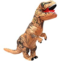 Halloween Adult Inflatable T-Rex Dinosaur Party Fancy Costume Funny Dress up Suit with USB Cable