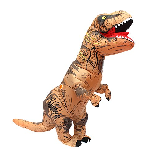 Halloween adulto inflable T Rex Dinosaur Partido traje Funny Dress Brown