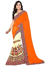 Riva Enterprise Women's Georgette Embroidred Kamthi Work Saree (Riva_94)