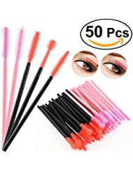 NUOLUX 50pcs brosse de baguettes jetables cils Mascara Set cosmétique Silicone souple cils