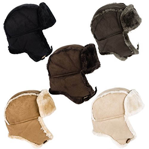 Ladies Womens Faux Sheepskin / Suede & Fur Trapper Aviator Russian Hat