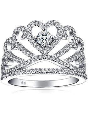 ZENI Edel Krone Ringe Königin Ringe 925 Sterling Silber Ringe Schmuck mit funkelnden Zirkonia Ring für Damen
