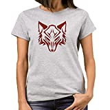 Heyuze Designer Printed Premium Quality 100% Cotton Half Sleeve Girl / Women Round Neck Grey T Shirt with Wolf Design