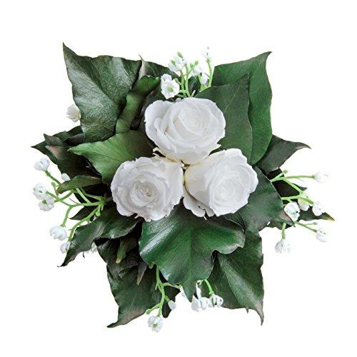 Blumenstrauß mit exklusiven, konservierten langhaltenden Rosen Brautstrauß für Hochzeit und Heirat von ROSEMARIE SCHULZ GmbH Heidelberg (3 Rosen, Weiß)