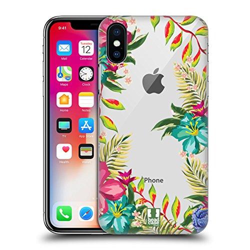 Head Case Designs Tropicale Flower Power Cover Retro Rigida per Apple iPhone X Tropicale