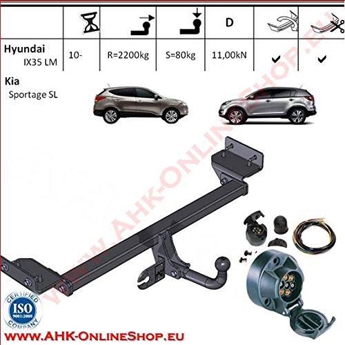 AHK Anhängerkupplung mit Elektrosatz 7 polig für Honda ix 35 / Kia Sportage 2010- Anhängevorrichtung Hängevorrichtung - starr, mit angeschraubtem Kugelkopf