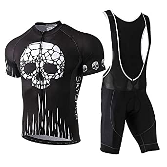 ee0bca26b Image Unavailable. Image not available for. Colour  SKYSPER Mens Cycling  Jersey wirh 3D Gel Padded Bib Shorts Breathable Cycling Combo Clothing Set  for