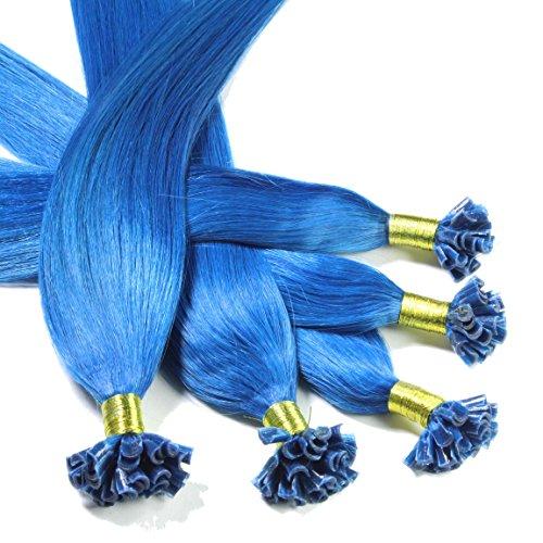 hair2heart 25 x Bonding Extensions aus Echthaar, 30cm, 0,5g Strähnen, glatt - Farbe blau