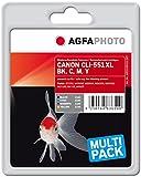 AgfaPhoto APCCLI551XLSET passend für Canon IP7250, 4 x 11 ml cyan/magenta/gelb,schwarz