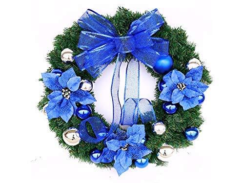 Seba5 Home Kreative Blume Weihnachtskranz Tür Hängende Ornamente Zimmer Weihnachtsbaum Anhänger für Dekoration (Blau) Geschenk