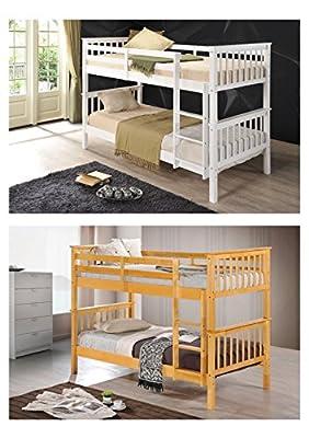 Right Deals UK Childrens Solid Wood Ladder Bunk Beds - Splits into 2 Single Beds - Oak or White