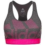 adidas Damen Don't Rest Alphaskin Long Sport BH Mit Mittlerer Unterstützung, Dark Grey Heather/Black/Real Magenta, M
