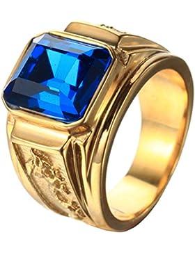 PAURO Herren Edelstahl Quadrat Edelstein CZ Stein Ring Mit Drachen Auf Seiten Classic Style, Multicolor