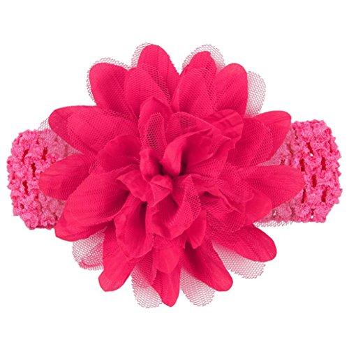 erthome Stirnband, Baby weiche Blumen Stirnband Spitze Bogen Haarband Blumen Stirnbänder (Pink)