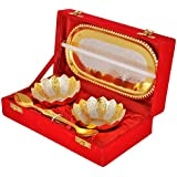 Diwali Super Sale Gift Idea Sale GreenTouch Gold & Silver Plated Floral Bowls And Spoon With Octagan Tray Set