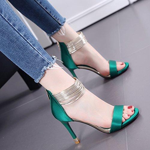 Verdes All Um Sapatos saltos Altos Sandália Com Moda Palavra match Temperamento Fina A Pn0T7x