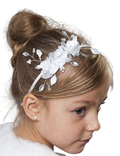 Haarschmuck Haarreifen Kommunion Kristallsteinchen Blüten Perlen Haarreif 08