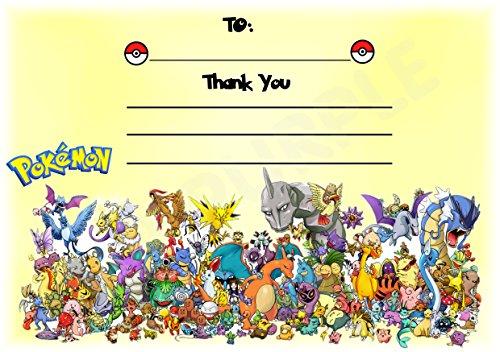 Pokemon Dankeskarten für Geburtstagsparty-Teilnahme–Querformat–Party-Zubehör–DIN A6, 12Stück WITHOUT Envelopes