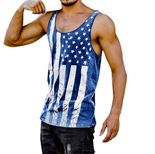 Shangqi Herren Ärmelloses Tank Top Muskelshirt Flagge Drucken Print Training Tanktop Achselshirt Men Sportswear Bodybuilding Trainingsshirt Für Männer Coole Tops Independence Day -