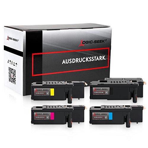 4 Toner kompatibel zu Dell E525w LED-Farblaser-Multifunktionsdrucker- Schwarz 2.000 Seiten, Color je 1.400 Seiten