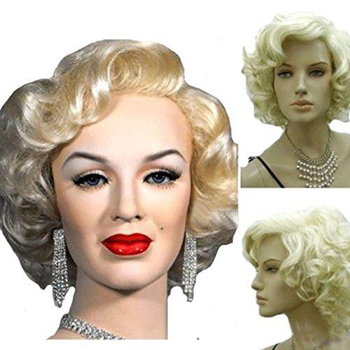 Kolight Damen Perücke, Marilyn-Stil, kurz, gelockt, sexy Cosplay, Kostüm, Party, Hot Qualität, mit Kappe und Kamm