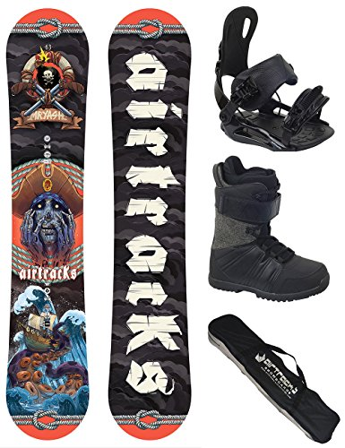 AIRTRACKS Snowboard Set / Board Mr.Yash Carbon Wide Flat Rocker 163 + Snowboard Bindung Star + Boots Star Black 44 + Sb Bag