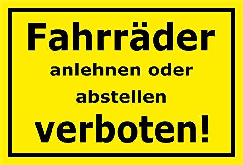 Melis Folienwerkstatt Schild - Fahrräder abstellen - 15x10cm | 3mm Hartschaum - S00050-046-C -20 Varianten