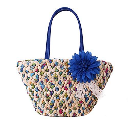 VADFLOD Frauen Stroh Taschen handgemachte Webart Perlen Mais Pellets geformte Blume Anhänger lässig Griff Bunte Handtasche Satchel Tote Geldbörse, blau -