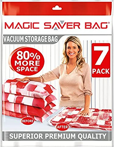 7 PACK Space Saver Bags, 80% More Vacuum Compressed Storage, Ultimate Protection For Duvets Bedding (1 Piano Saver)