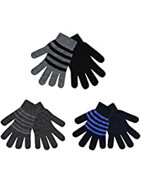 6 Pairs Mens Magic Gloves Knitted Warm Thermal Winter Plain Striped Black Grey