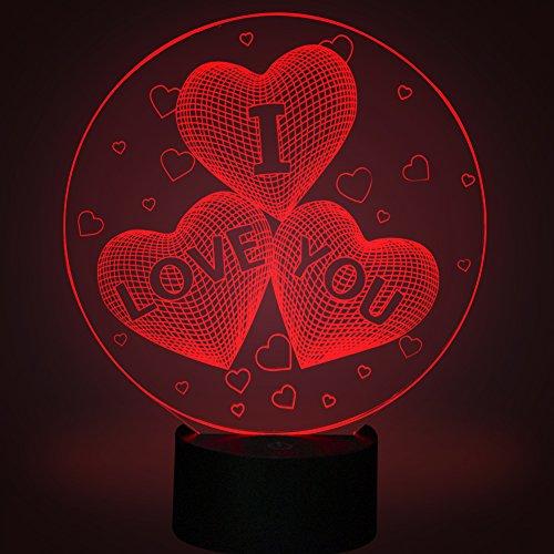 Amor corazon Ilusiones ópticas 3D Lámparas