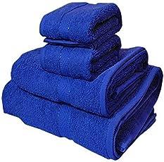 Trident Cotton Midnight Couple Bath and Hand Towels Set (Blue, HSPMWHT0120NN) - 4 Pieces