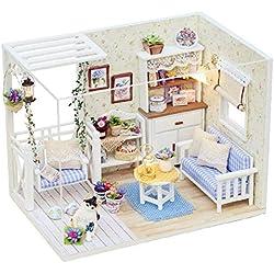 FairOnly H13 Maison en Bois miniaturas avec Meubles à Faire soi-même Maison de poupée Miniature Jouets pour Enfant Cadeau de Noël et d'anniversaire