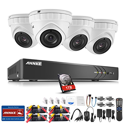 ANNKE Überwachungskamera Set, 8CH 3MP H.264+ DVR Recorder + 4 x 3MP Metall Dome Überwachungskameras, Bewegungserkennung, Smart Search/Playback/Fernzugriff Überwachungssystem