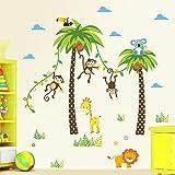ElecMotive Dschungel Abnehmbare Wandsticker Kinderzimmer Babyzimmer Deco für Geburtstag Party in Geschenk Verpackung Test