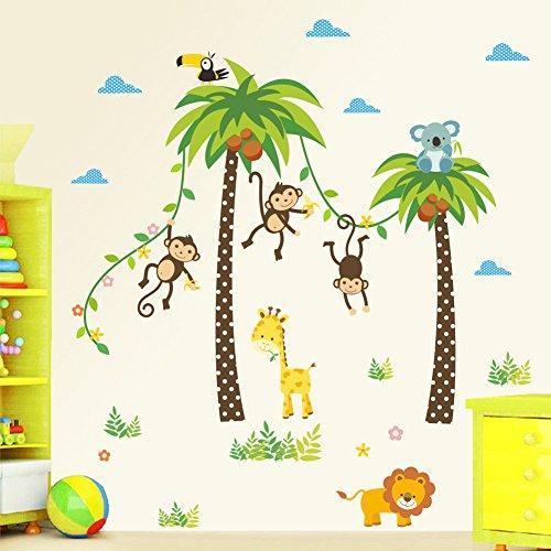decalmile Wandtattoo Kinderzimmer Tiere AFFE Giraffe Palmen Baum Wandsticker Wandaufkleber Babyzimmer Wanddekoration