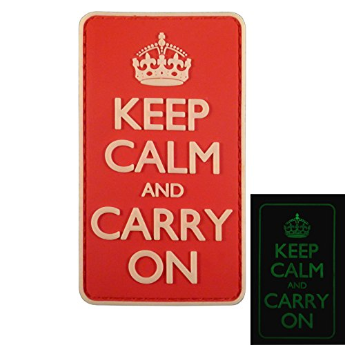 Keep Calm and Carry On WW2 WWII Morale PVC 3D Fastener Aufnäher Patch -