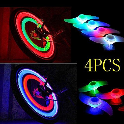 Rad Entfernen (4Fahrrad Rad Speichen Reifen Reifen Draht LED Neon Licht Lampe Birne–zufällige Farbe siehe abbildung)