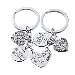 Idea Regalo - Coppia di anelli portachiavi con ciondolo a forma di cuore spezzato e con la scritta in lingua inglese