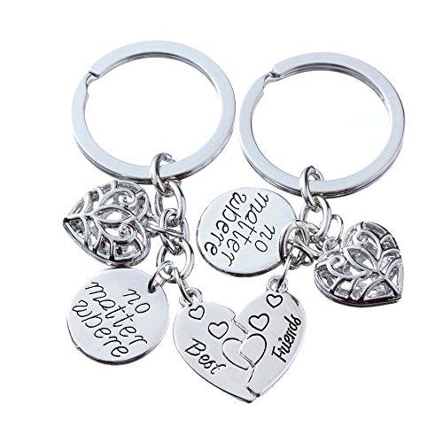 Coppia di anelli portachiavi con ciondolo a forma di cuore spezzato e con la scritta in lingua inglese 'No matter where: best friends', ideale come regalo per gli am