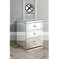 My-Furniture – LUCIA – Dos mesillas de noche endurecidas con espejo y 3 cajones – Gama CHELSEA - Muebles de Dormitorio precios