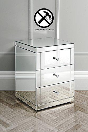 My-Furniture – LUCIA – Dos mesillas de noche endurecidas con espejo y 3 cajones – Gama CHELSEA