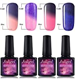 Joligel Lot de 4 vernis à ongles Gel Semi-permanent Soak Off UV LED Caméléon Change de couleur selon la température Résine Naturelle Nail Art 10 ml 009