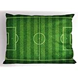 Lunarable Boy's Room Pillow Sham, Realistic Green Grass Soccer Field Sports Hobby Competition Field, Decorative Standard Queen Size Printed Pillowcase, 30 X 20 Inches, Lime Green Fern Green