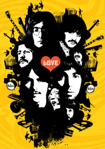The Beatles - Yellow Love Graphics - A3 poster stampa - Picture - Art