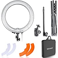 Neewer 14-inch Outer 12-inch Inner Dimmable Ring Light Lighting Kit - 50W Fluorescent Continuous Ring Light, Light Stand, Ball Head,Filter for Portrait Makeup Photography YouTube Studio Video Shooting